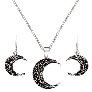 Sterling Silver Marcasite Crescent Moon Set
