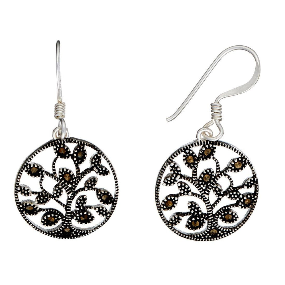 Sterling Silver Marcasite Tree Of Life Set