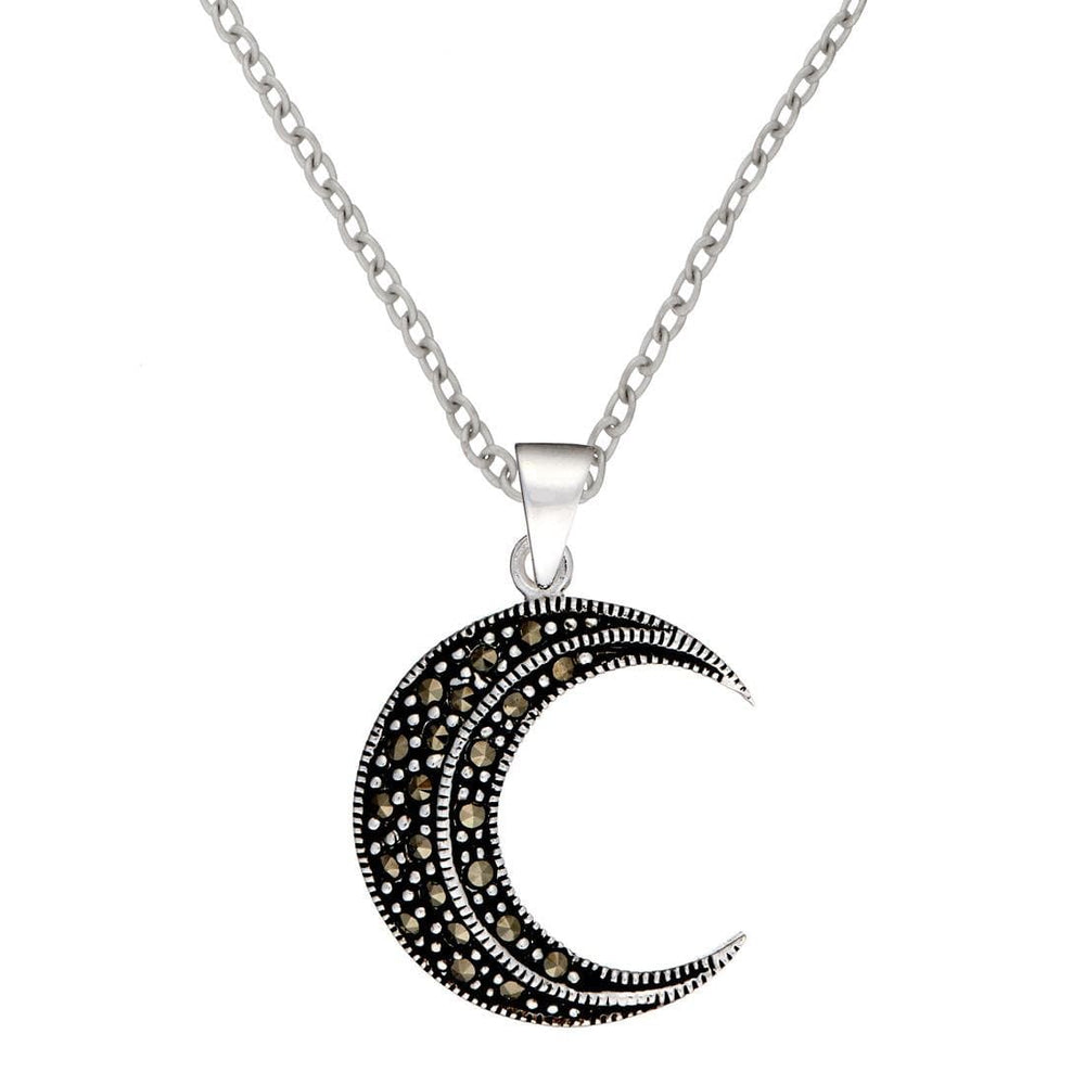 Sterling Silver Marcasite Crescent Half Moon Pendant Necklace