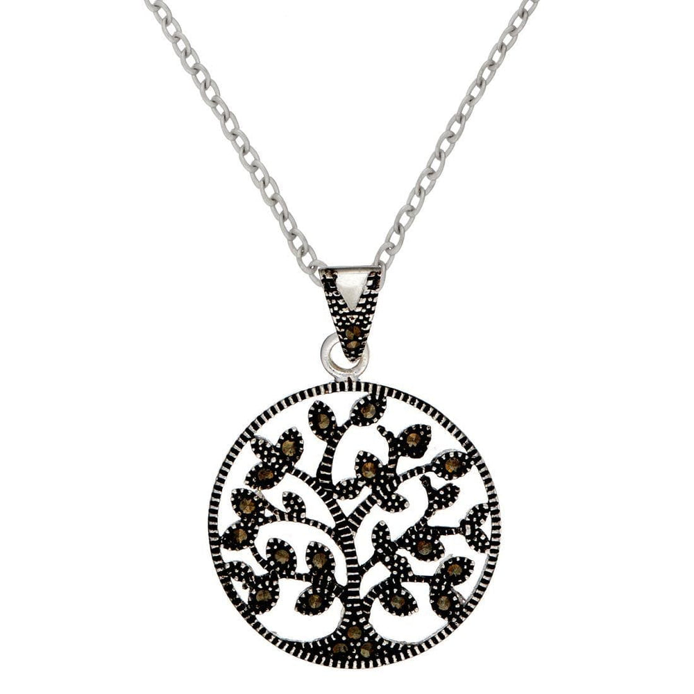 Sterling Silver Marcasite Circle Tree Of Life Pendant Necklace