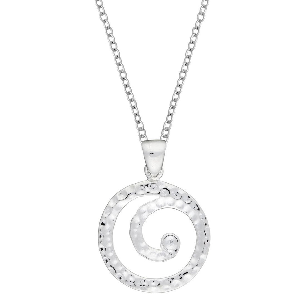 Sterling Silver Spiral Swirl Circle Hammered Pendant
