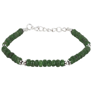 Load image into Gallery viewer, Sterling Silver Emerald Flower Charm Bead Bracelet