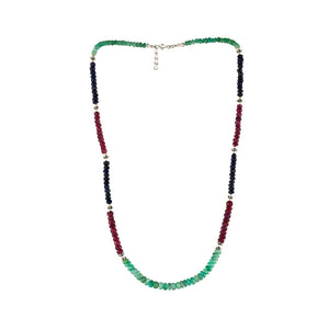 Sterling Silver Ruby Emerald Sapphire Necklace