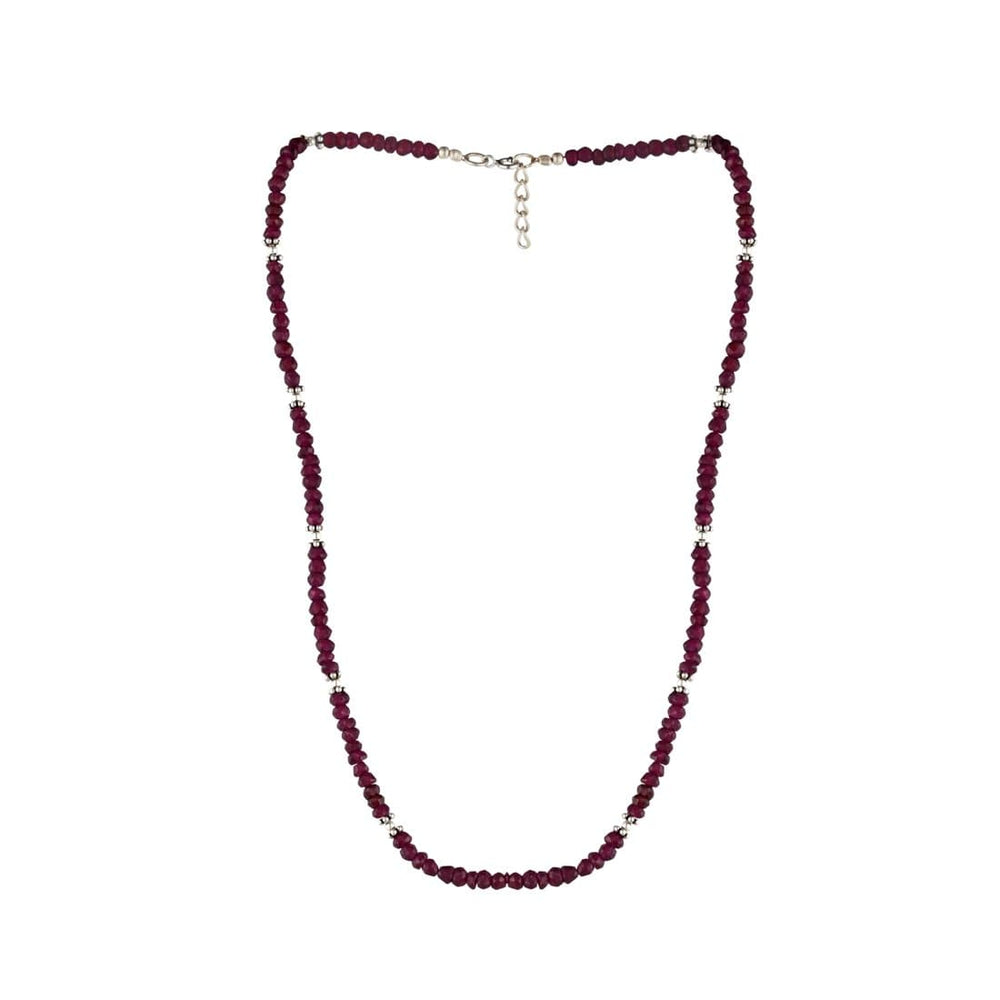 Sterling Silver Ruby Gemstone Necklace