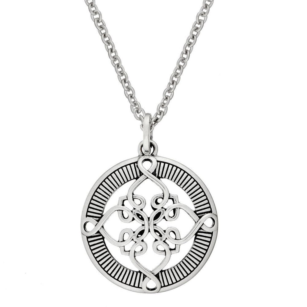 Sterling Silver Round Celtic Knot Cross Pendant Necklace