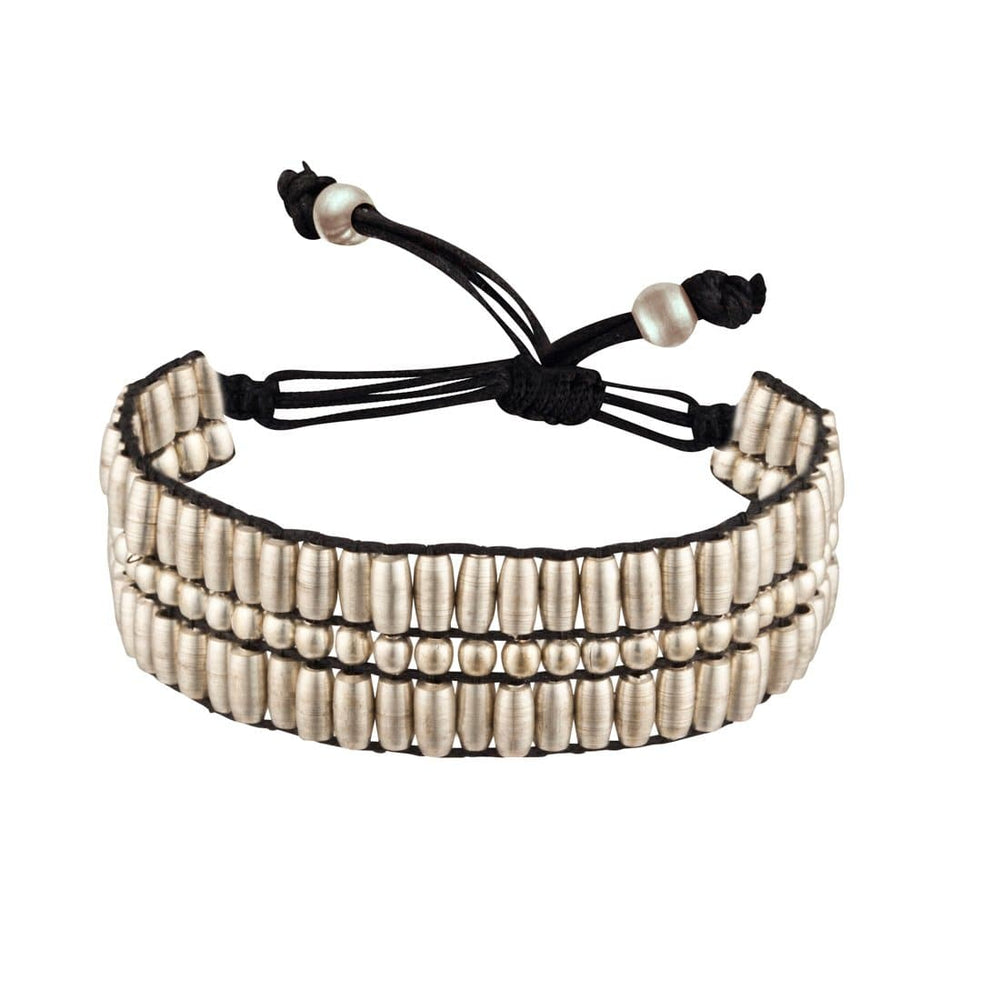 Silver Brass Tube Oval Small Bead Adjustable Bracelet - 81stgeneration