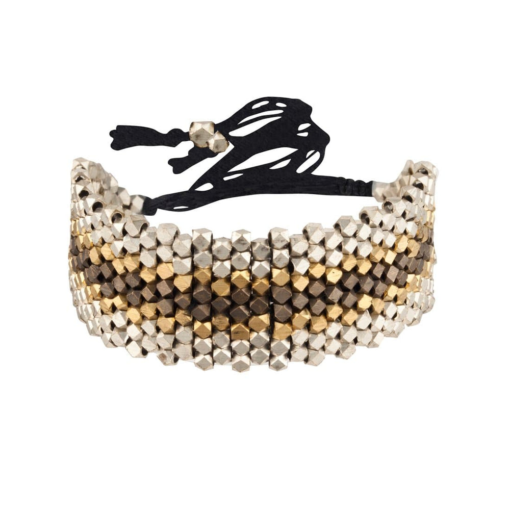 Silver & Gold Brass Black Tone Bead Adjustable Bracelet - 81stgeneration