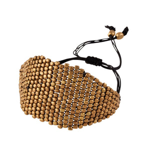 Gold Brass Diamond Pattern Bead Adjustable Bracelet - 81stgeneration