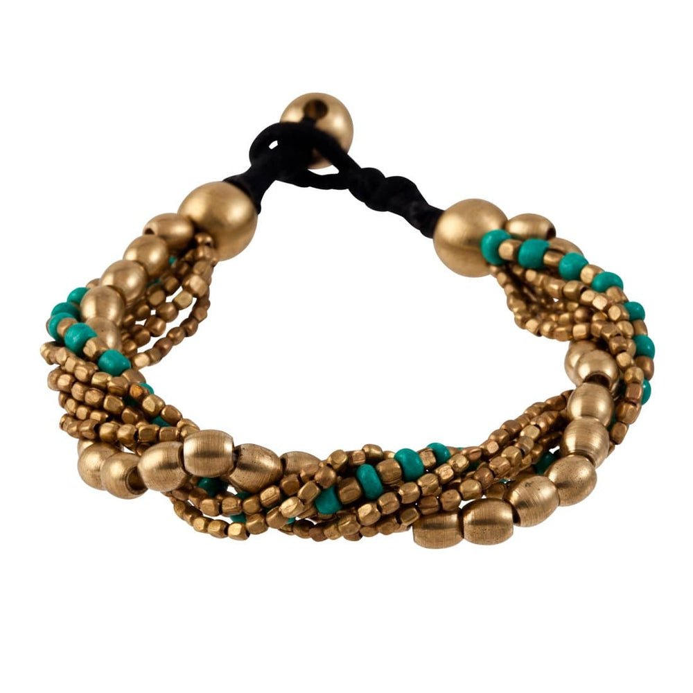 Gold Brass Turquoise Small Mixed Oval Bead Bracelet - 81stgeneration