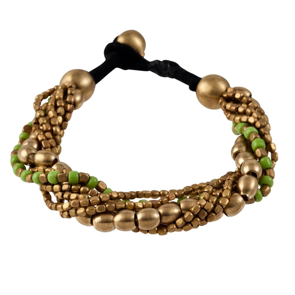 Gold Brass Green Small Mixed Oval Bead Strand Bracelet - 81stgeneration