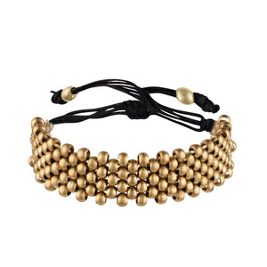 Gold Brass Small Ball Round Bead Adjustable Bracelet - 81stgeneration