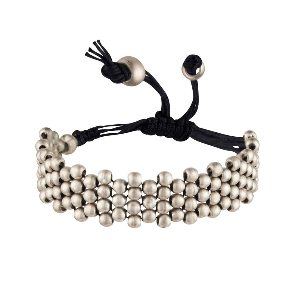 Silver Brass Small Ball Round Bead Adjustable Bracelet - 81stgeneration