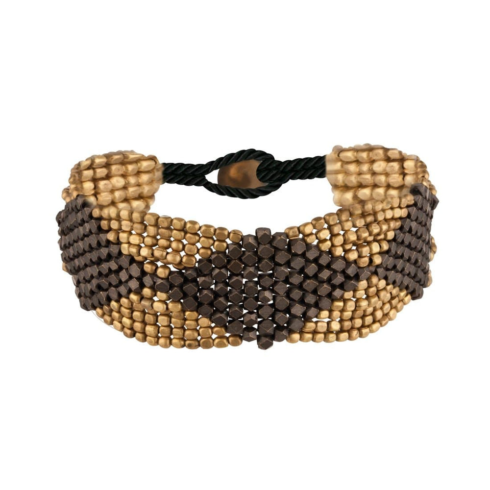 Load image into Gallery viewer, Gold Brass Black Tone Diamond Pattern Faceted Bead Bracelet - 81stgeneration