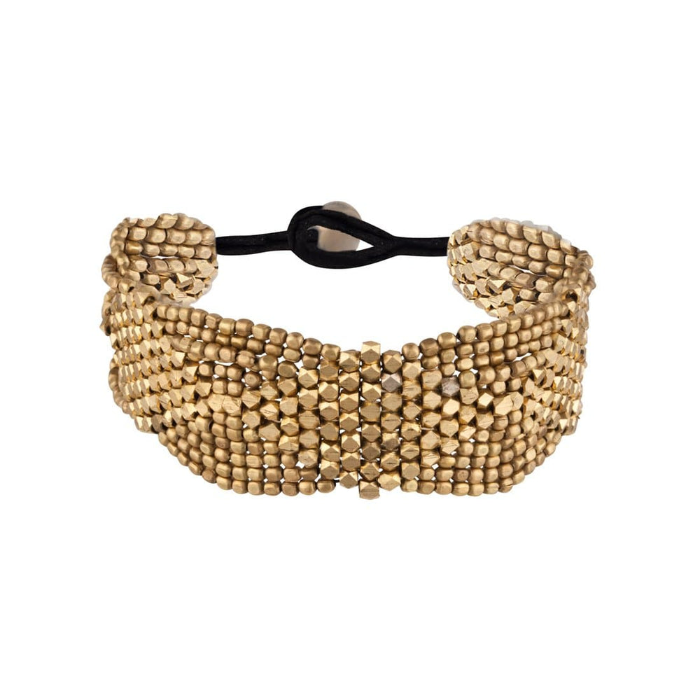 Gold Brass Diamond Pattern Small Faceted Bead Bracelet - 81stgeneration