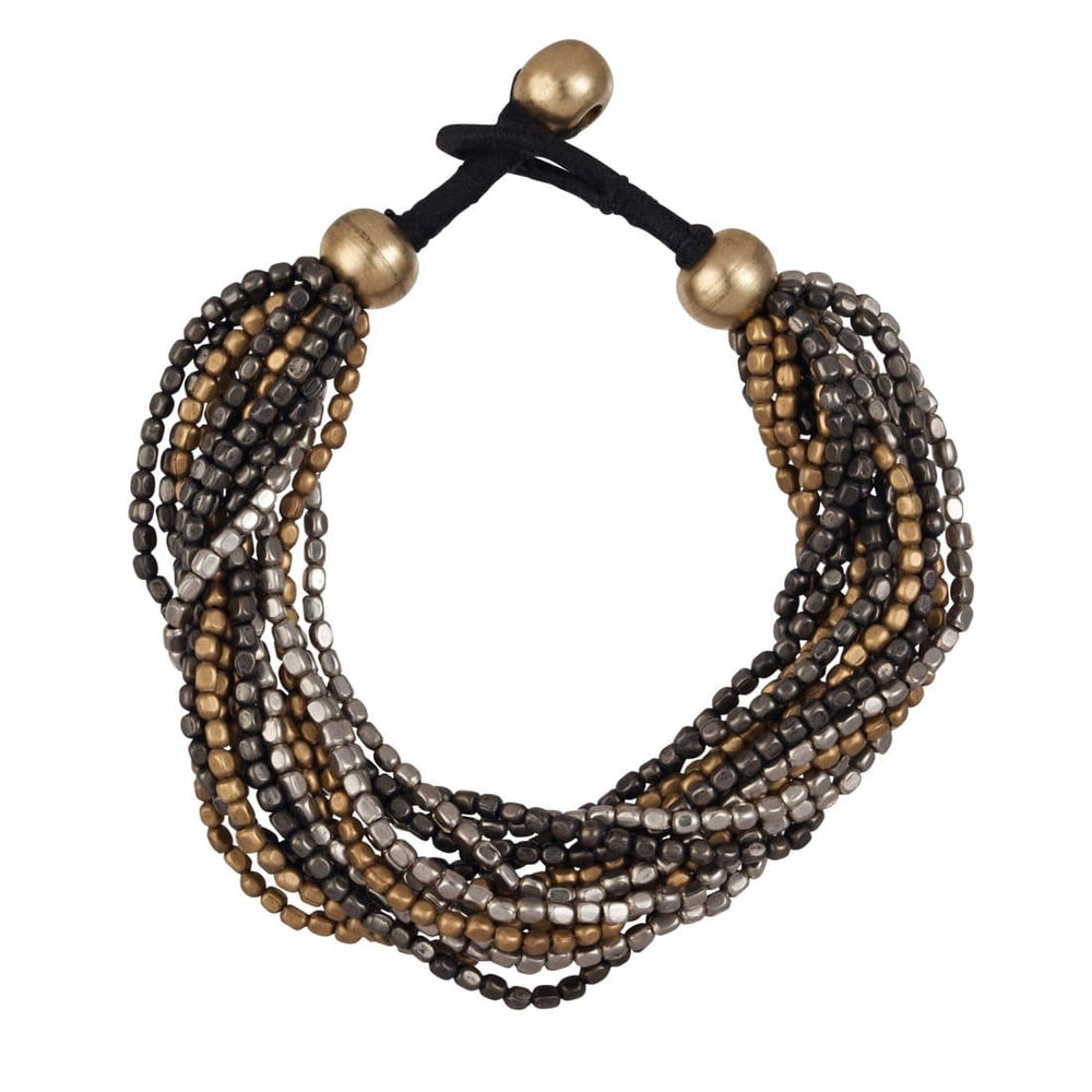 Load image into Gallery viewer, Silver & Gold Brass Black Tone Small Bead 15 Strand Bracelet - 81stgeneration