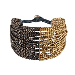 Gold Brass Black Tone Colour Small Bead 24 Strand Bracelet - 81stgeneration