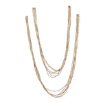 Silver Brass Small Bead Strand Long Necklace - 81stgeneration