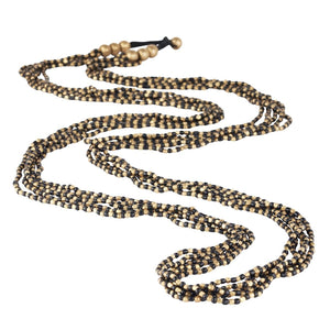 Load image into Gallery viewer, Gold Brass Black Bead 5 Strand Long Necklace - 81stgeneration
