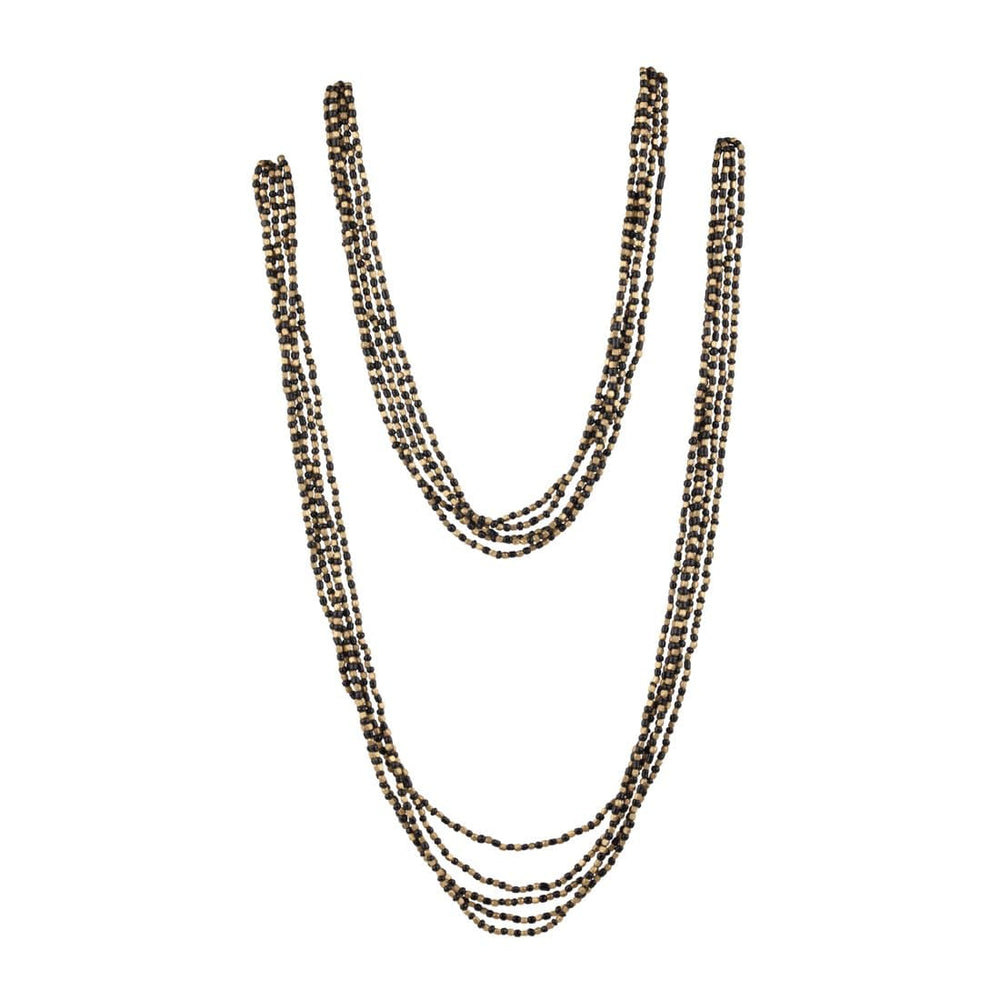 Gold Brass Black Bead 5 Strand Long Necklace - 81stgeneration