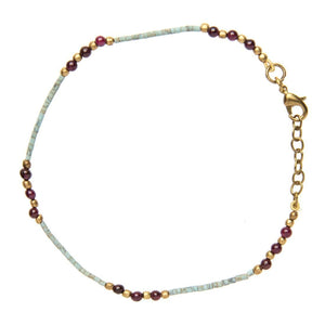 Load image into Gallery viewer, Gold Brass Turquoise Garnet Ankle Bracelet