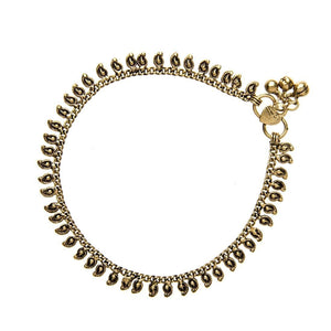 Gold Brass Indian Charm Ankle Bracelet