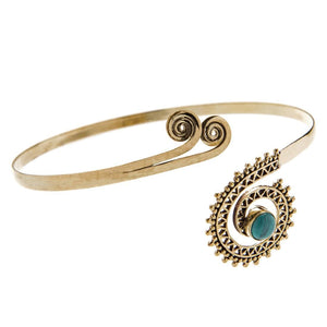 Gold Brass Turquoise Tribal Upper Arm Cuff