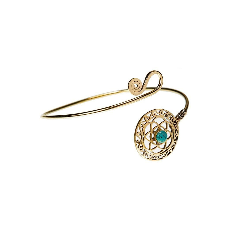 Gold Brass Flower of Life Turquoise Upper Arm Cuff