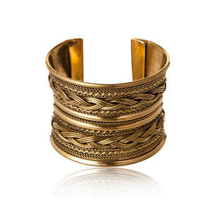 Gold Brass 50mm Braid Bangle Bracelet