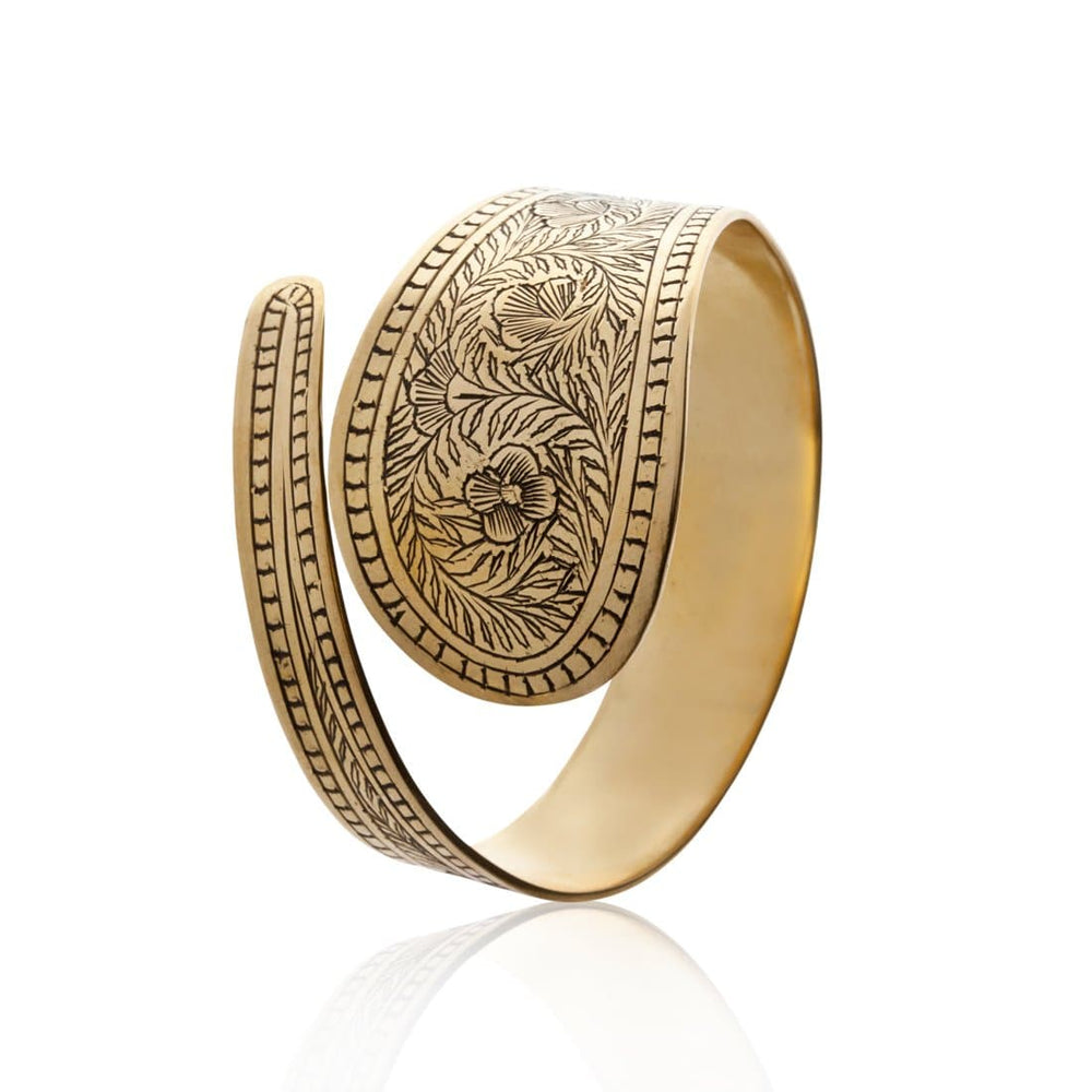 Load image into Gallery viewer, Gold Brass Embossed Flower Bangle Bracelet - 81stgeneration