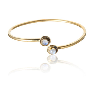 Load image into Gallery viewer, Gold Brass Moonstone Bangle Bracelet