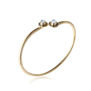 Gold Brass Moonstone Bangle Bracelet