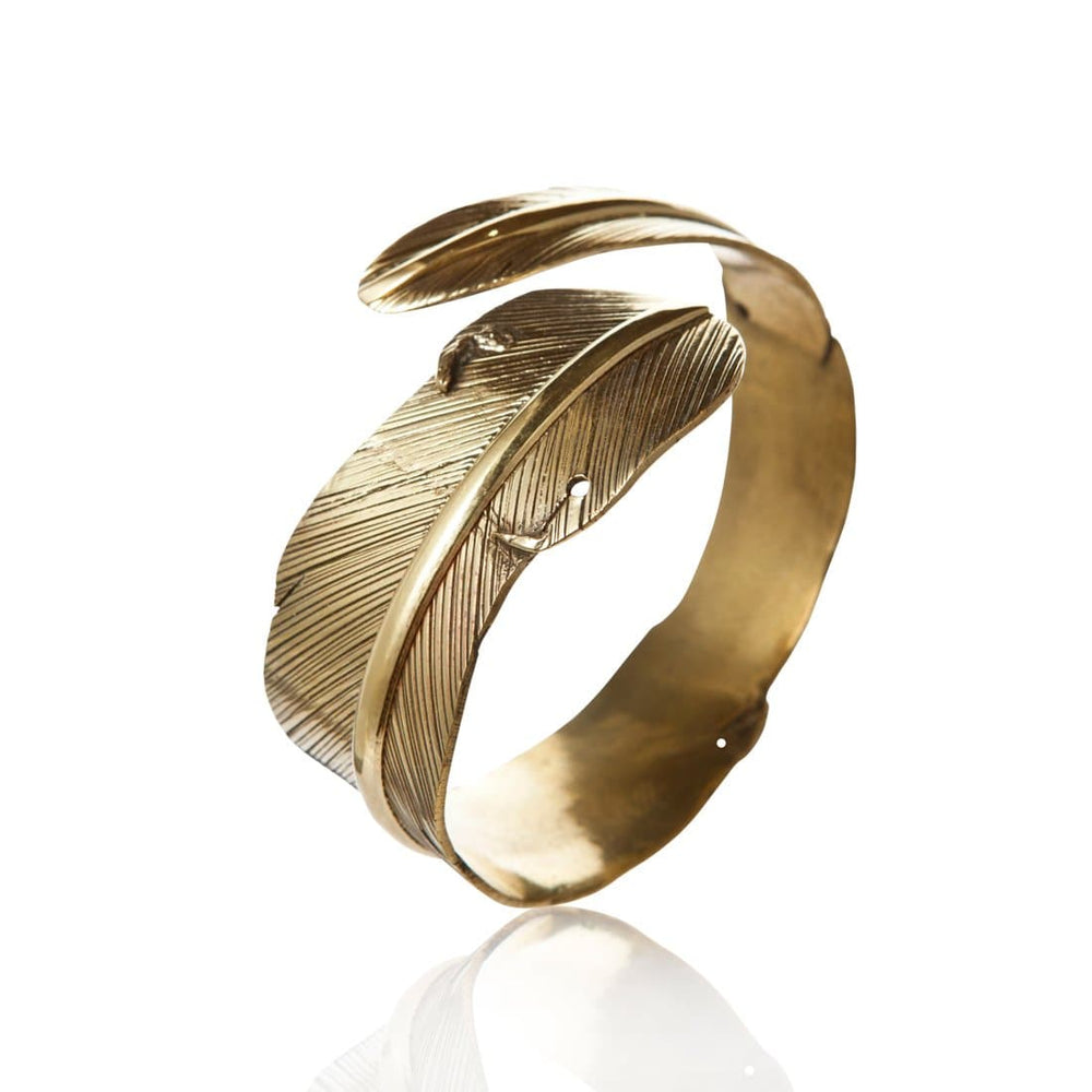 Load image into Gallery viewer, Gold Brass Feather Adjustable Bangle Bracelet