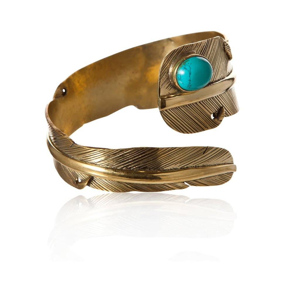 Gold Brass Turquoise Feather Bangle