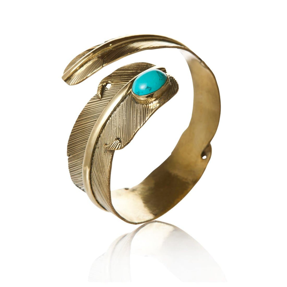 Load image into Gallery viewer, Gold Brass Turquoise Feather Bangle - 81stgeneration
