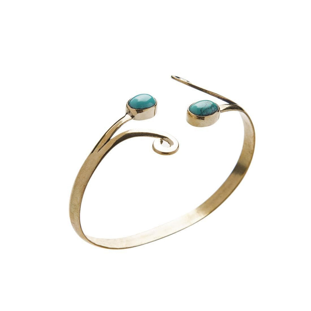 Load image into Gallery viewer, Gold Brass Turquoise Tribal Swirl Cuff Bangle