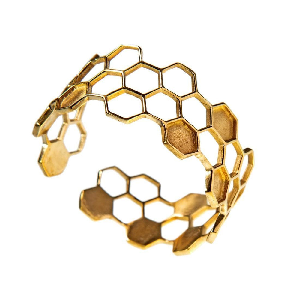 Gold Brass Honeycomb Hexagon Adjustable Bangle