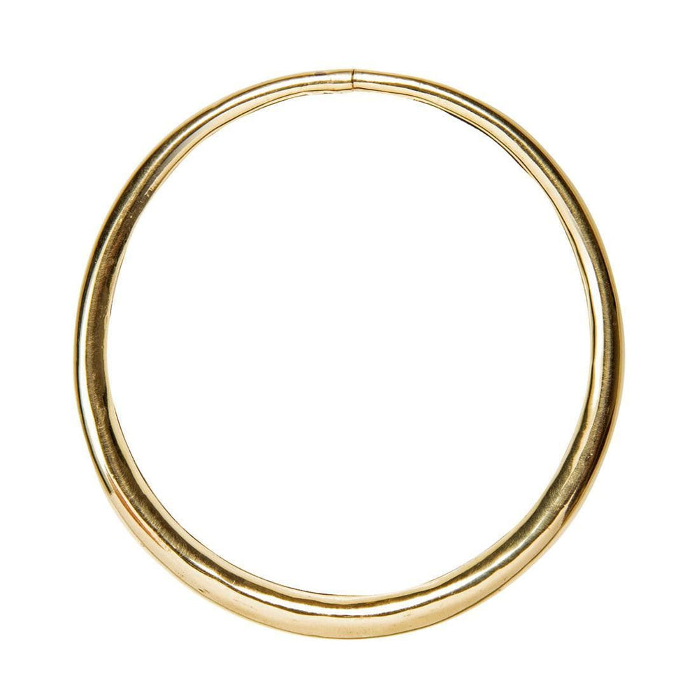 Gold Brass Round Tube Collar Necklace
