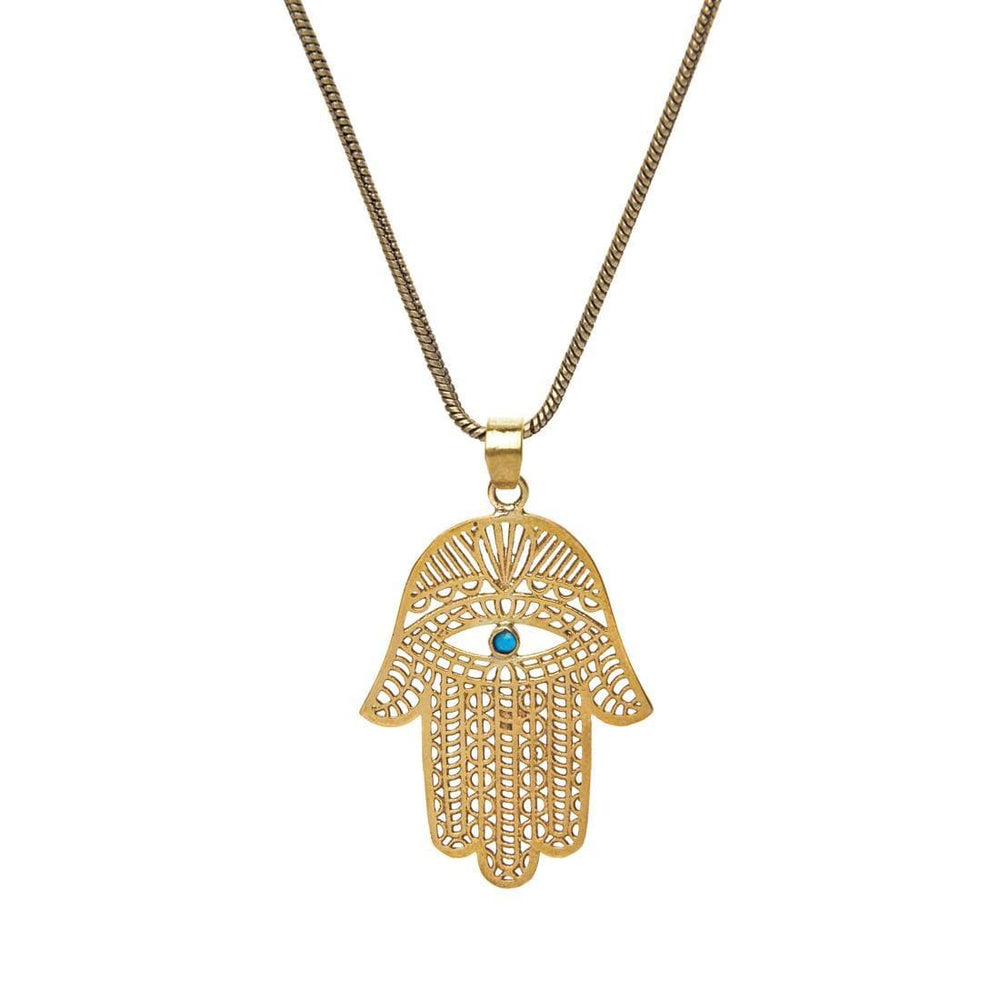 Load image into Gallery viewer, Gold Brass Turquoise Filigree Hamsa Hand Pendant Necklace