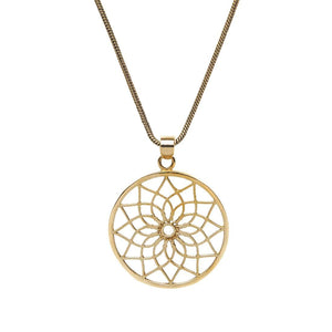 Gold Brass Lotus Flower Pendant Necklace