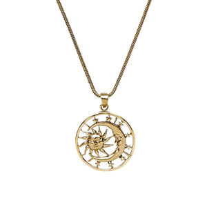 Gold Brass Moon Sun Stars Pendant Necklace