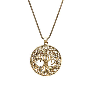 Gold Brass Tree of Life Pendant Necklace