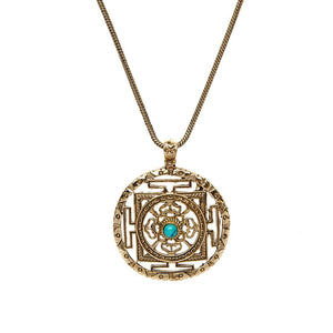 Gold Brass Mandala Emerald Pendant Necklace