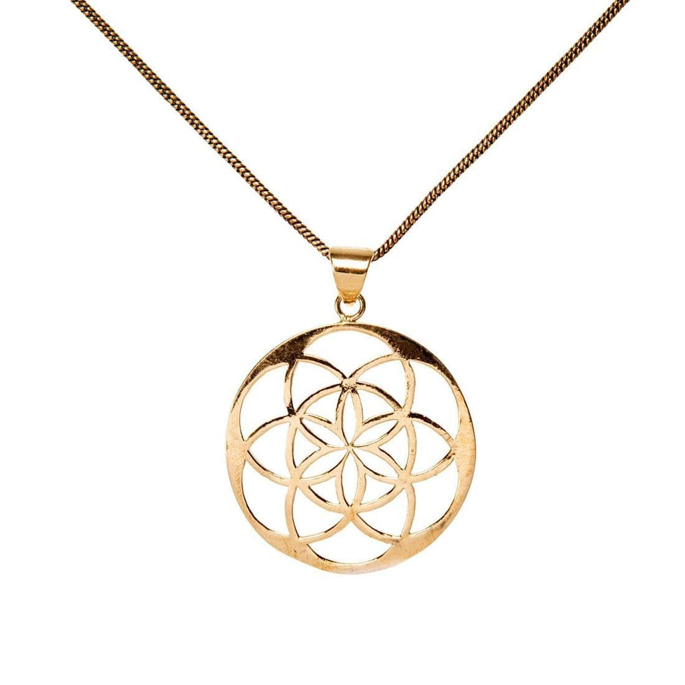 Gold Brass Circular Flower of Life Pendant Necklace