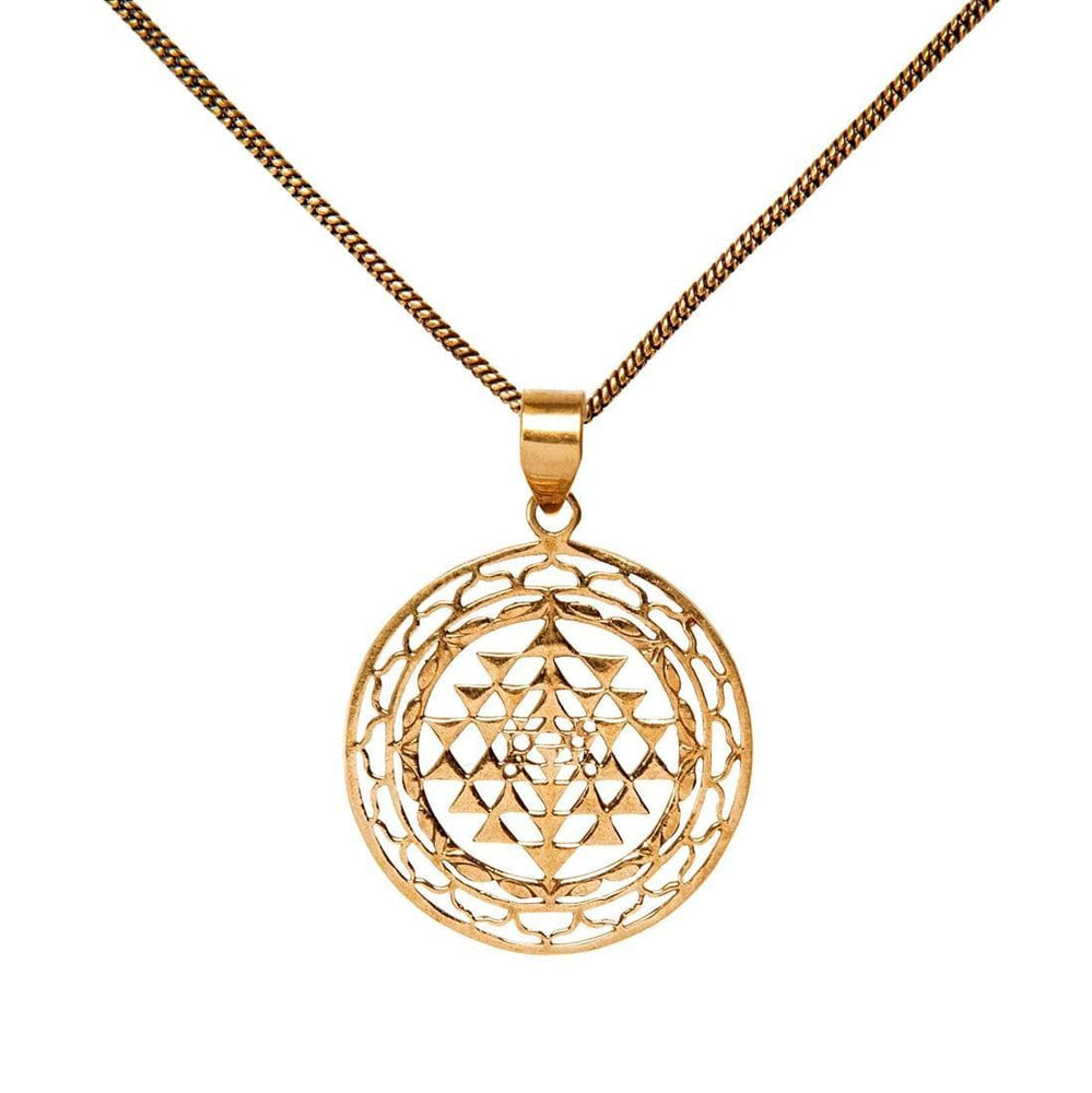 Gold Brass Sri Yantra Meditation Mandala Pendant Necklace