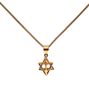 Gold Brass 3D Star of David Merkabah Pendant Necklace