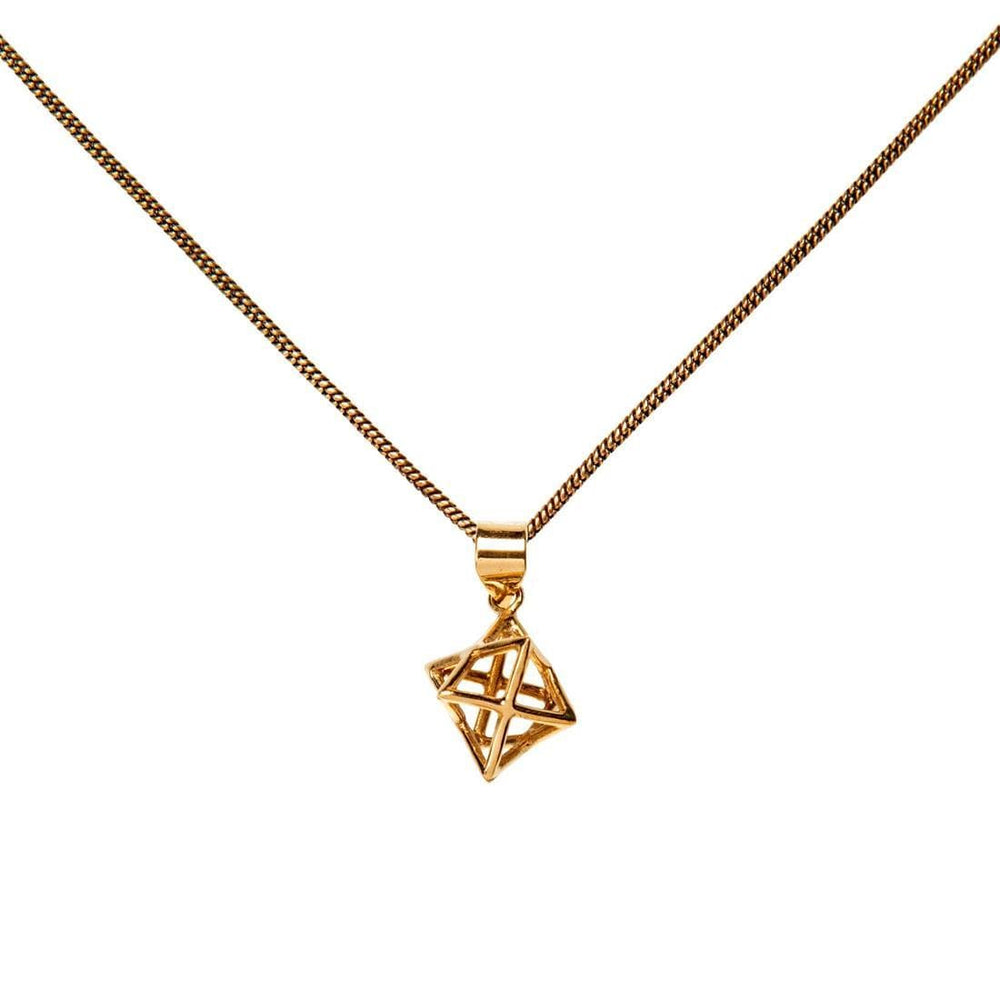 Load image into Gallery viewer, Gold Brass 3D Star of David Merkabah Pendant Necklace