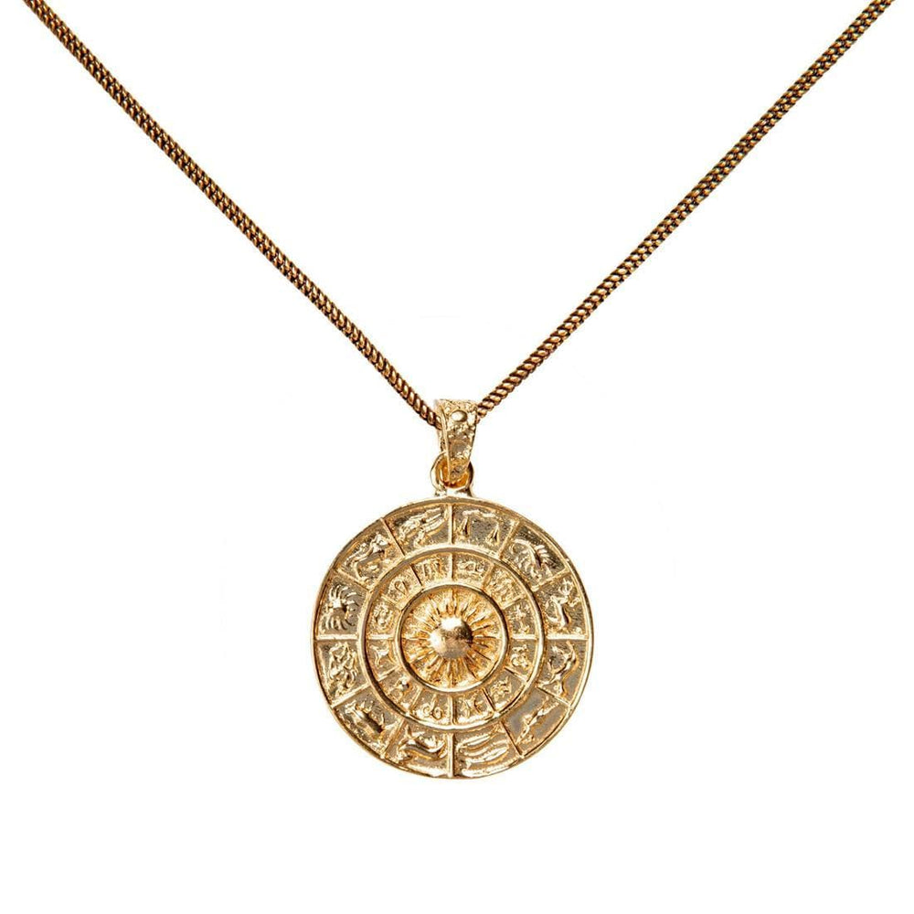 Load image into Gallery viewer, Gold Brass Zodiac Wheel Astrology Pendant Necklace
