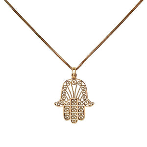 Gold Brass Filigree Fatima Hand Dotwork Pendant Necklace