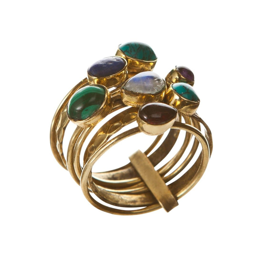 Gold Brass 7 Stackable Mixed Gemstones Rings