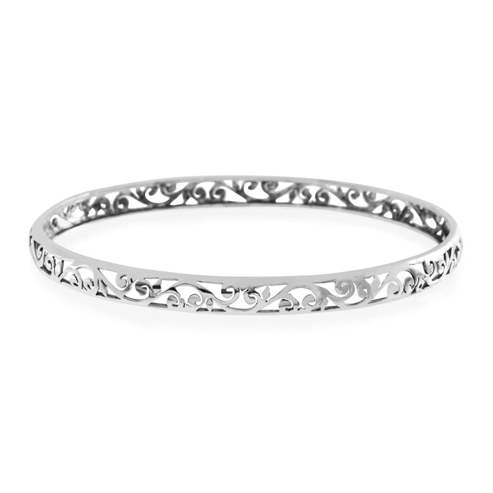Silver Indian Filigree Thin Cuff Bangle